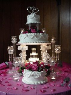 Wedding Cakes With Fountains | All in pink with fountain — Other / Mixed Shaped Wedding Cakes