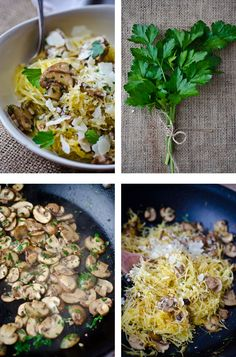 blissful eats with tina jeffers: Roasted spaghetti squash with mushrooms - Bliss Whole Food Recipes, Vegetarian Recipes, Great Recipes, Cooking Recipes, Healthy Recipes, Healthy Dishes, Veggie Dishes, Vegetable Recipes, Clean Eating