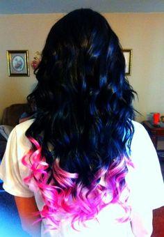Pink dip dyed hair