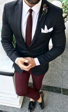 Black Suits with Burgundy Pants Classic Wedding Suits for Men Custom Groom Tuxedo Groomsmen Blazer Slim Fit Costume Homme Gentleman Mode, Gentleman Style, Mens Fashion Suits, Mens Suits, Men's Fashion, Mens Casual Suits, Blazer Outfits Men, Designer Suits For Men, Look Man