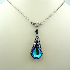 Victorian Crystal Blue Necklace