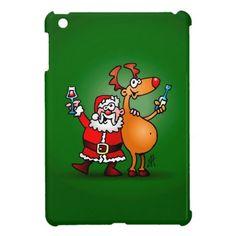 Santa Claus and his Reindeer iPad Mini Cover. #Zazzle #Cardvibes #Tekenaartje #Christmas