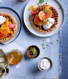 Citrus waffle with Honey labne