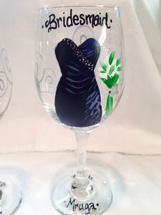 A personal favorite from my Etsy shop https://www.etsy.com/listing/198377789/wedding-glasses-bridal-party-handpainted