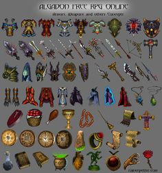Armors, weapons and itens by =rainerpetterart on deviantART