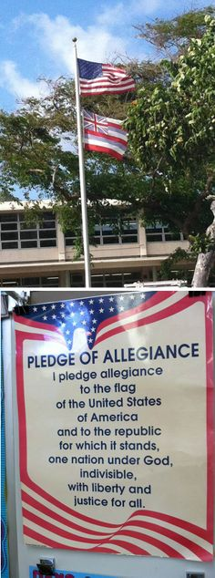 Aloha♪  学校のロータリーに立っている旗。上、星条旗、下ハワイ州旗。 ハワイは王国時代はイギリスの保護下にあったので、ユニオンジャック、八本のラインはハワイの八島を表しています‼  クラスルームでは、毎日国旗への誓いをしています。胸に手を当てて、呪文のように唱えるあれです。 我が家の場合、主人と娘2人は言えるのですが、私だけ言えません・・・ 何度聞いても、呪文にしか聞こえませんのでクラスルームで写真を撮ってきました。ところで、これを写してきたところで娘達の様なスピードでは舌が回らないのですが。  うちの娘達、君が代を知りません。。。日本語補習校でも卒業式などで、日本国歌・アメリカ国歌両方を歌うのですが、君が代は静かに小さな声、アメリカ国歌になると生徒全員大合唱です。親としては笑うしかありませんね。  さて、ハワイ8島全て言えますか?  Mahalo Mama ❤ S