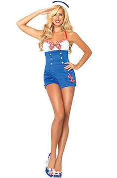 High Seas Honey Pin Up Sailor Romper Women Outfit Adult Costume