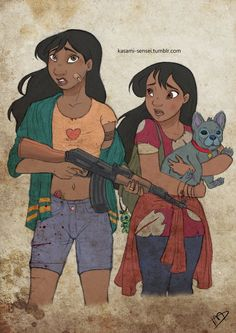 Pin for Later: Disney Princesses Become Badass Zombie Fighters in Walking Dead Art Nani, Lilo, and Stitch