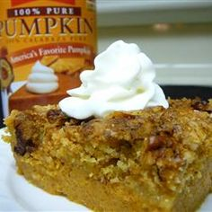 Pumpkin Crunch Cake Allrecipes.com Again one of the best recipes ever!  I only used a cup of sugar half white half brown and half a box of yellow cake mix and only one stick of BUTTER,  it is the best...bake a little longer to make sure its firm. best served cold!