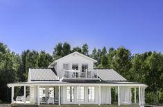 """Modernt timmerhus i """"beachhousestil"""""""