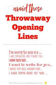 6 throwaway opening lines to avoid with Word Wise at Nonprofit Copywriter #WritingTips #FreelanceWriting #Pitching Email Writing, Blog Writing, Writing Tips, Business Letter, Business Emails, One Line Jokes, Blog Websites, Writing Letters, Email Subject Lines