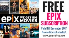 EPIX is offering a FREE Trial Subscription to EPIX HD until December 31, 2017.. Epix is pretty much just like netflix.  With EPIX, you can watch Hollywood Hits like Spectre, The Hunger Games: Mockingjay Part 2, Creed and Interstellar before anyone else!Only one trial account per person. Previous users with an EPIX trial account are not eligible.It's a cable TV channel. It's a VOD service on your set-top box. It's a web site with movies.