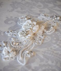 Lace Bridal Headband with Rhinestones and Pearls, Lace Hair Accessory, Bridal Hair Accessories with crystals and pearls
