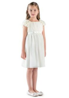 Us Angels Ivory Flower Girl Cap Petal Sleeve Empire Dress With Satin Bow- Girls 7-16