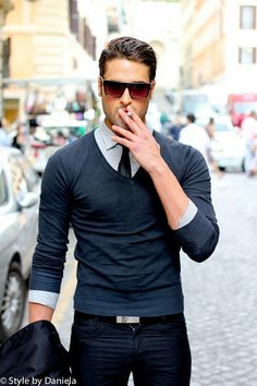 V neck ...Get rid of the cancer stick & you'll look as classy as you dress...