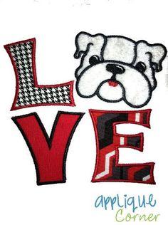 LOVE Bulldog Applique Design