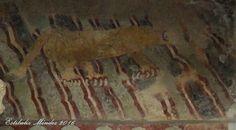 Pintura mural de jaguar en Teotihuacan. Leyenda de las manchas del jaguar. Fotografía de Estibaliz Mendez