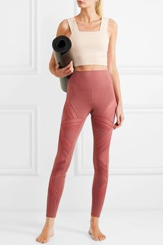 The New Trend L. Girls Are Wearing to the Gym - Tha Skinny - Alo Yoga Moto Mesh-Paneled Stretch Leggings - Legging Outfits, Yoga Outfits, Sporty Outfits, Athletic Outfits, Cute Outfits, Workout Outfits, Pink Leggings, Leggings Sale, Yoga Accessories