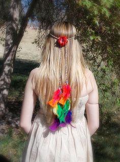 Rainbow Hippie Headband Feather Headband Belt Hemp Boho Head Wrap Bridal Head Crown Feather Extensions Hippie Wedding Bridal Headpiece