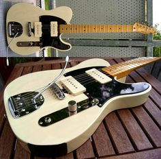 Squier Telecaster hybridized with Fender Jazzmaster pickups and tremelo (plus a Mustang bridge),