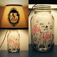 Ariel and Eric Inspired Mason Jar Character Lamp by PracPerfCrafts Disney Lamp, Disney Diy, Disney Crafts, Disney Stuff, Mason Jar Projects, Mason Jar Crafts, Mason Jar Lamp, Diy And Crafts Sewing, Crafts For Girls