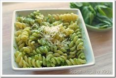 spinach pesto over noodles - swap out the walnuts with sunflower seeds to make nut free