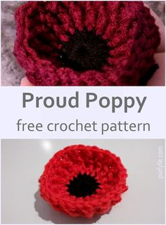 This poppy will sit up nice and proud and hold it's shape even if left out in the rain. The pattern is provided in both Australian/UK terms and US terms. Crochet Puff Flower, Crochet Flower Patterns, Crochet Motif, Diy Crochet, Crochet Crafts, Crochet Ideas, Hat Patterns, Yarn Crafts, Crochet Stitches