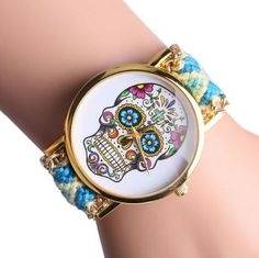 Sugar Skull Watch - Braided Bracelet - Blue