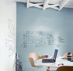 Notable® is a two-component dry erase paint. Notable™ transforms virtually any surface into a writeable and erasable surface. The Office, Office Ideas, Exterior Paint, Interior And Exterior, Wall Colors, Paint Colors, Dry Erase Paint, Paint Stain, Paint Cans