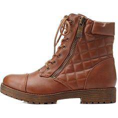 Charlotte Russe Chestnut Bamboo Quilted Combat Booties by Bamboo at... ($43) ❤ liked on Polyvore featuring shoes, boots, ankle booties, chestnut, short boots, zipper boots, quilted boots, ankle boots and army combat boots