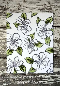 cardmaking tutorial: masking and stamps with three parts ... like this line art that shows when flower mask removed ... Stampin' Up!