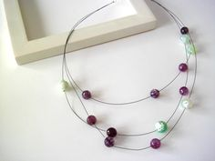 Necklace agata purple and green on black cable by clode83 on Etsy, €16.00