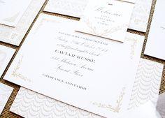 Hochzeitseinladung von Oh So Beautiful Paper: Constance + Fahri's Elegant Wedding Dinner Invitations