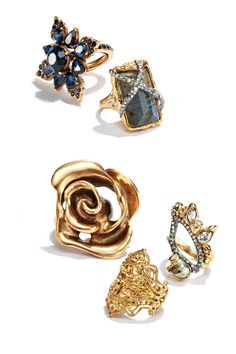 Attract attention with statement rings from Oscar de la Renta, Alexis Bittar and more.