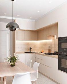 89 Minimalist Kitchen Ideas Beautiful Simple and Minimalism Styled ~ My Dream Home Kitchen Room Design, Kitchen Cabinet Design, Modern Kitchen Design, Kitchen Layout, Home Decor Kitchen, Interior Design Kitchen, Home Kitchens, Small Modern Kitchens, Room Kitchen
