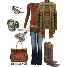 A fashion look from September 2012 featuring brown cardigan, long sleeve tee and bke jeans. Browse and shop related looks.