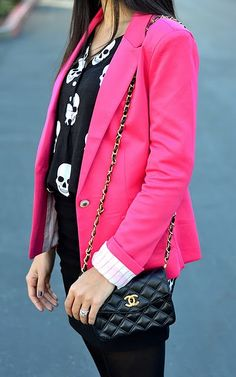 I could incorporate skulls into my wardrobe if they could pop with a pink blazer!