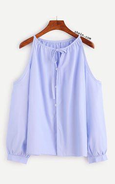 Blue Cold Shoulder Tie Neck Button Top