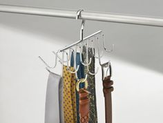 If no one in your household wears a suit and tie every day, don't waste space on a dedicated tie rack. This two-in-one combo ($11, amazon.com) has hooks for seven of each and can also be used for scarves or handbags. The possibilities are endless.