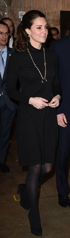 Kate Entered the Creativity Is GREAT Reception in a Seraphine Turtleneck Dress and Cartier necklace!