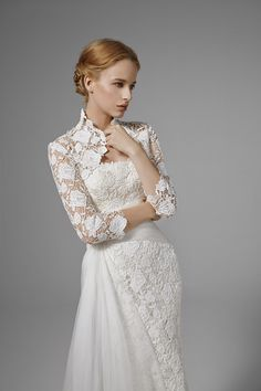 CATHERINE: Strapless mermaid gown in guipure lace with organza drapings