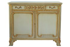 Vintage Louis XVI-style painted walnut and parcel gilt cabinet. Rich neoclassical-style custom gold hardware. Cabinet door has lock. Key not available. Interiors are solid walnut in original stain. Unfinished back. Johnson-Handley-Johnson maker plaque on left interior of drawer