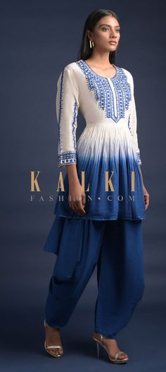 Buy Online from the link below. We ship worldwide (Free Shipping over US$100)  Click Anywhere to Tag Off-White-And-Blue-Ombre-Dhoti-Suit-With-Peplum-Top-Having-Mirror-And-Thread-Work-Online-Kalki-Fashion Indian Dresses, Indian Outfits, Anarkali, Lehenga, Salwar Kameez, Kurti, Thread Work, Party Wear Dresses, Blue Ombre