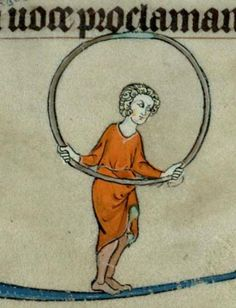 Hula hoop.  Фламандская рукопись HORAE ETC.  	Cent. XIII, XIV (1300). Trinity College Cambridge B.11.22 http://sites.trin.cam.ac.uk/james/viewpage.php?index=92 …