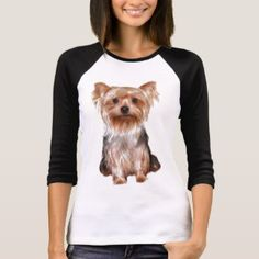 """Ladies """"Yorkshire Terrier"""" T-Shirt. I love the two tone style of these long-sleeve tees and how can you resist that cute Yorkie face - a must have for casual weekends and hanging out with friends in jeans. Grain Free Dog Food, Yorkshire Terrier Dog, Best Dog Food, Terrier Dogs, Yorkie, Wardrobe Staples, Fitness Models, Long Sleeve Tees, Female"""