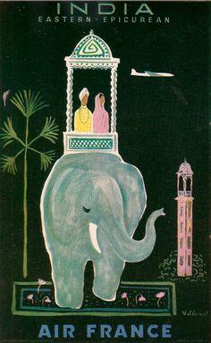 By Bernard Villemot (1911-1989), ca 1957, India, Air France.