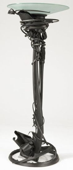 Forged steel lamp by Albert Paley