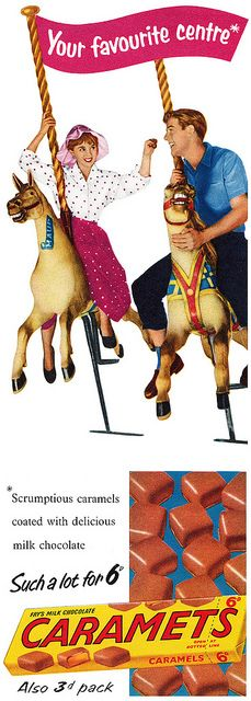A charming 1950s ad for Caramets featuring a couple on a carousel. vintage ad 1950s caramel chocolate candy