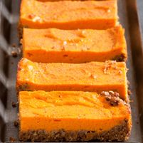 Sweet Potato Bars are a healthful treat, with a nutty, gluten-free crust and a filling based on nutritionally outstanding sweet potatoes. Make these bars this weekend! Gluten Free Baking, Gluten Free Desserts, Dessert Recipes, New Recipes, Cooking Recipes, Favorite Recipes, Potato Bar, 16 Bars, Think Food