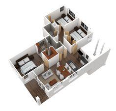 3-d three bedroom apartment layout Courtside Villas Boca Raton